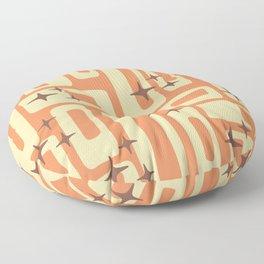 Retro Mid Century Modern Abstract Pattern 576 Orange Brown Floor Pillow