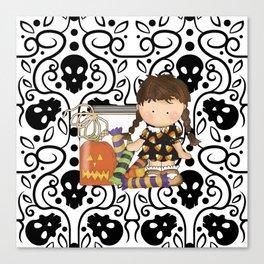 Halloween Skull Girl Canvas Print