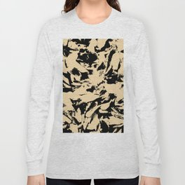 Beige Yellow Black Abstract Military Camouflage Long Sleeve T-shirt