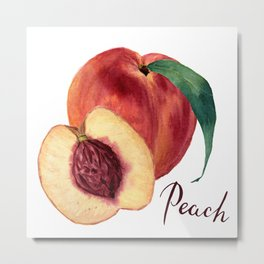 Watercolor sweet peaches Metal Print