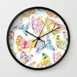 Watercolor Rainbow Butterflies Wall Clock