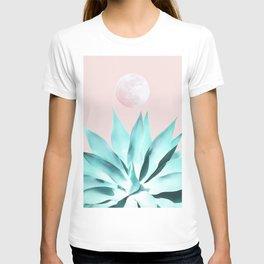 Stellar Agave and Full Moon - pastel aqua and pink T-shirt