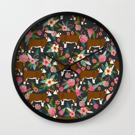Hereford Cattle breed floral farm homestead gifts cow art florals Wall Clock
