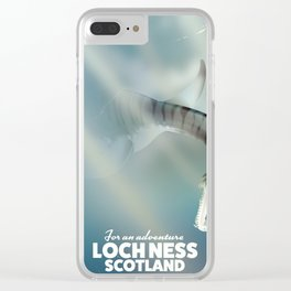 Loch Ness Scotland monster vintage travel poster Clear iPhone Case