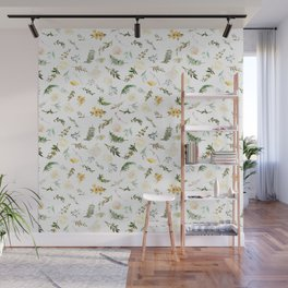 Hand painted green yellow watercolor leaves floral Wall Mural