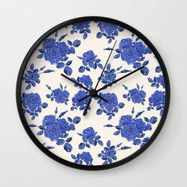 Beautiful seamless blue roses pattern on light background Wall Clock