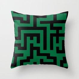Black and Cadmium Green Labyrinth Throw Pillow