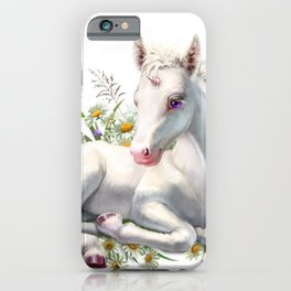 Baby unicorn lies in flowers iPhone Case