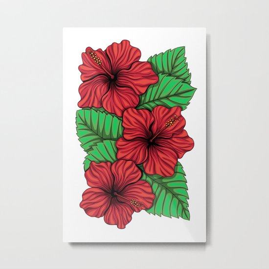 Bouquet of hibiscus flower and tropical leaves Metal Print