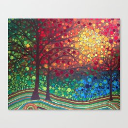 Winter sunset dot art by Mandalaole Canvas Print