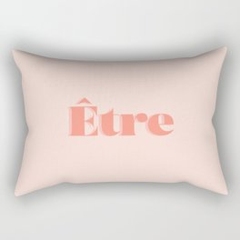 Être - Being in French - To be - Etheric - Esoteric - Retro Pastel Typography - Rose Blush and Coral Rectangular Pillow