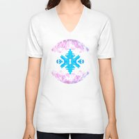 snowflake V-neck T-shirts featuring Snowflake by Blue Ivan