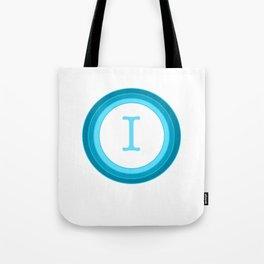 Blue letter I Tote Bag