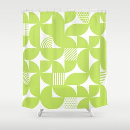 Lime Green Mid Century Bauhaus Semi Circle Pattern Shower Curtain