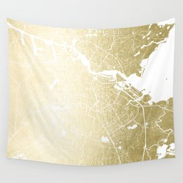 Amsterdam Gold on White Street Map Wall Tapestry