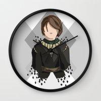 house stark Wall Clocks featuring Arya Stark by itsamoose