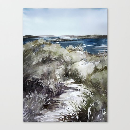 Cold seashore grass Canvas Print