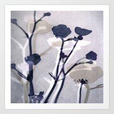 abstract florals  ~ color option deep blue Art Print