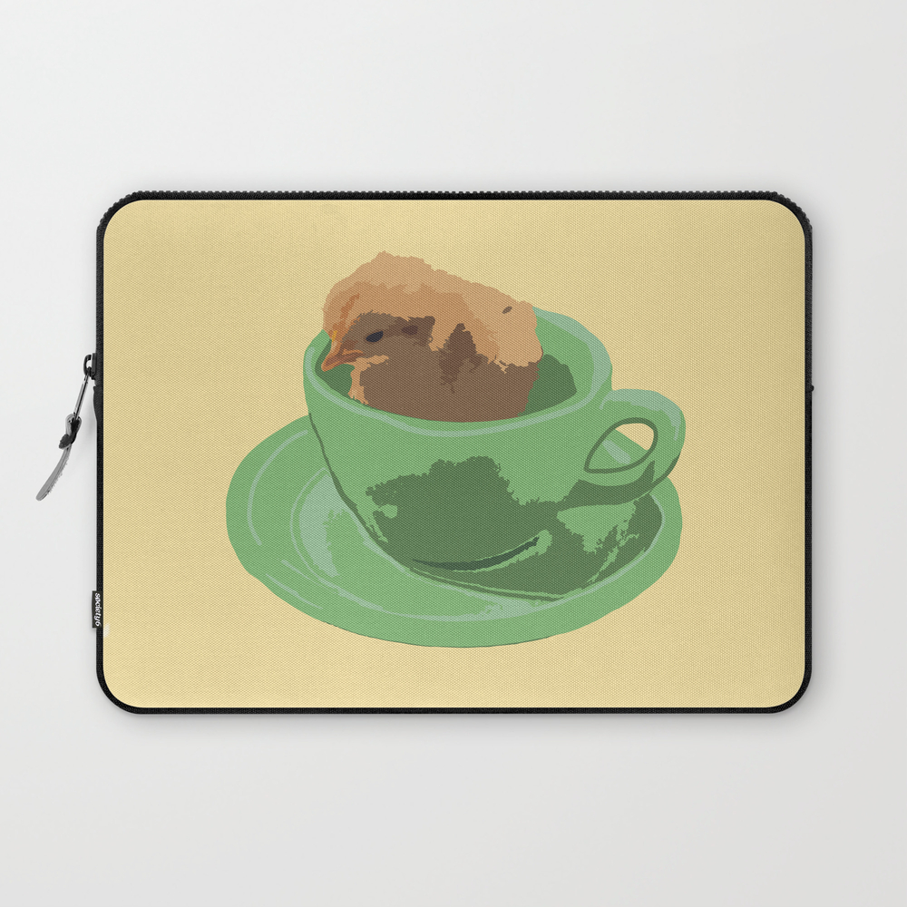 Baby Chick In Jadeite Cup Illustration Laptop Sleeve LSV8830669