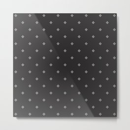Pixel Diamonds - Grayscale Metal Print