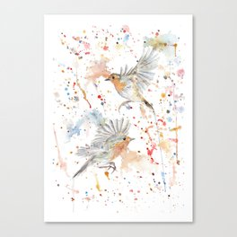 "Watercolor Painting of Picture ""Robins"" Canvas Print"