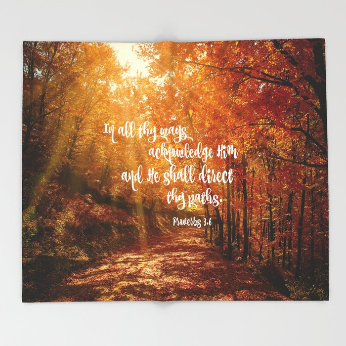 He Will Direct Your Path Bible Verse Throw Blanket