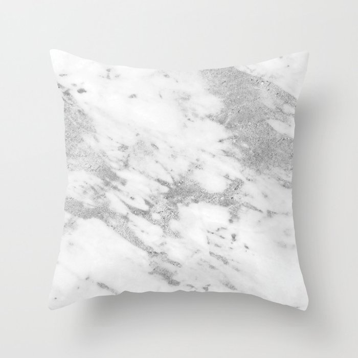 Marble Silver And White Pattern Throw Pillow By Naturemagick Society6