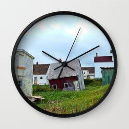 Lighthouse and shacks in North-Rustico PEI Wall Clock