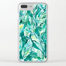 BANANA LEAF JUNGLE Green Tropical Clear iPhone Case