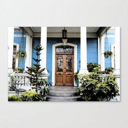 vintage blue house Canvas Print