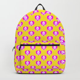 Skull heart pattern, punk rock skull, punk girl, love kills, yellow pink hearts, girly emo skull Backpack