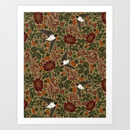 Vintage & Shabby Chic - William Morris Flying Doves  Art Print