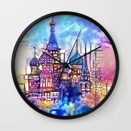 Twilight Stained Glass Saint Basil's Wall Clock