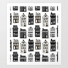 Mansard Mansions in Black + White Watercolor Art Print