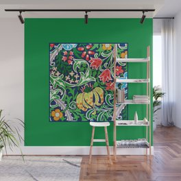 Art Nouveau Jacobean Flower Garden, Green and Multi Wall Mural