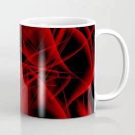 Glowing web of red cosmic lines of energy and a mystical smoke screen on a black background. Coffee Mug