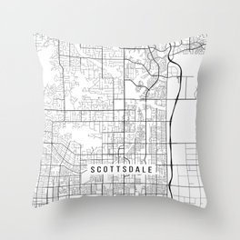 Scottsdale Map, Arizona USA - Black & White Portrait Throw Pillow