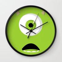 mike wrobel Wall Clocks featuring Mike Wazowski by Bearded Manatee