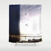 return Shower Curtains featuring return stroke by Gray