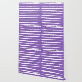 Irregular Hand Painted Stripes Purple Wallpaper