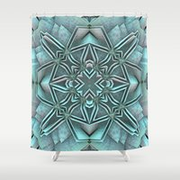 snowflake Shower Curtains featuring Snowflake by Lyle Hatch
