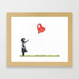 Girl with Red Balloon Framed Art Print