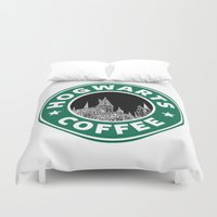 hogwarts Duvet Covers featuring Hogwarts Coffee by Beautiful Bibliophile's Boutique