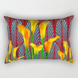 DECORATIVE RED & BLUE DECO GOLDEN CALLA  LILIES ART Rectangular Pillow