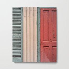 Teal shutter, coral door Metal Print