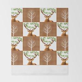 Woodland Deer Quilt Throw Blanket