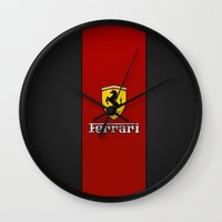 ferrari Wall Clocks featuring Ferrari by ZenthDesigns