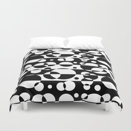 Black White Geometric Circle Abstract Modern Print Duvet Cover