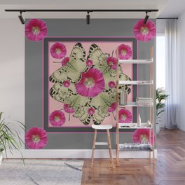 GREY & PINK HOLLYHOCK FLORAL BUTTERFLY PATTERN Wall Mural