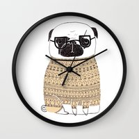 pug Wall Clocks featuring Pug  by Phillippa Lola